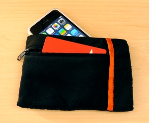 a large compartment for your phone, and a small one for your money